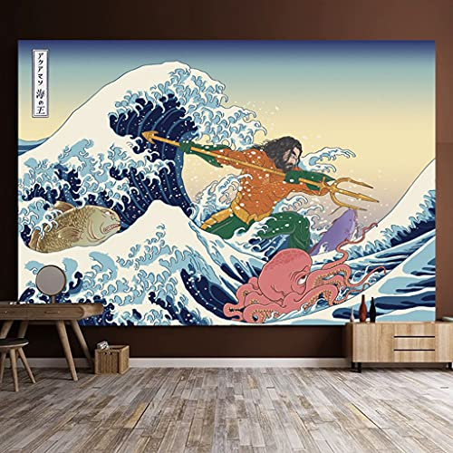 LARJLJR tapizTela de Fondo de sensación de Internet Estilo japonés Ukiyo-E Tapiz de Revestimiento de Pared Dormitorio Pared Cama Cabeza de Tela Colgante