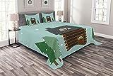 ABAKUHAUS Cabane en rondins Couvre-Lit, Cabane dans Paysage de Neige, Lavable sans décoloration des Couleurs, 264 x 220 cm, Pale Écume Multicolor