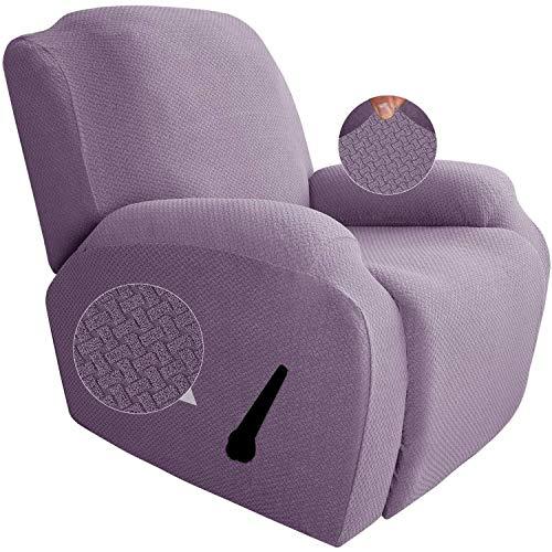 GYHH Funda De Sillón Relax Elástica Completo Protector para Sillón Reclinable,4-Partes Elástica Jacquard Funda De Sillón con Bolsillo (Light Purple)