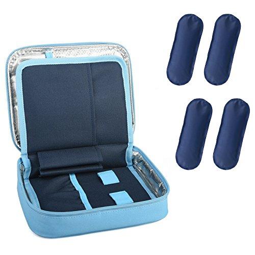 DCCN Insulin Kühltasche Diabetiker Tasche für Medikamente Thermotasche aus Oxford-Stoff und Alufolien mit 4 Kühlakkus