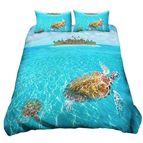 Loussiesd Blue Ocean Duvet Cover Set Single Size 3D Turtle Bedding Set Hawaii Sea Beach Decorative Microfiber Comforter Cover with 1 Pillow Shams, Zipper, Soft Lightweight Blue 2 Pieces for Kids Girls