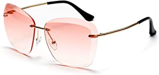 Sunglasses Fashion Accessories Frameless Full Lens UV Protection Fashion Transparent Color Lens (Color : Pink)