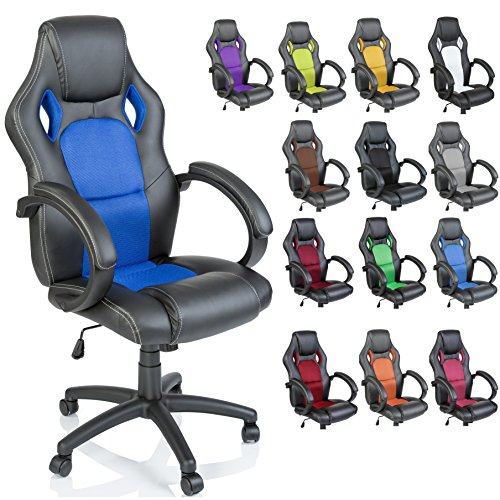 TRESKO Racing Silla de oficina silla de escritorio silla de ordenador silla giratoria disponible en 14 colores, bicolor, silla Gaming ergonomica, piston de gas certificado por SGS, silla adecuada para ninos mayores (Negro / Azul)