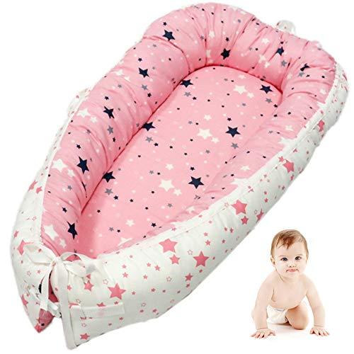 VIVILINEN Nido Bebé Recién Nacido,Algodón 100% Reductor de Cuna Nidos para Bebes, Cojin Cuna Bebe Colecho, Cama Cana Nido de Viaje, 90 x 50 cm (Rosa)