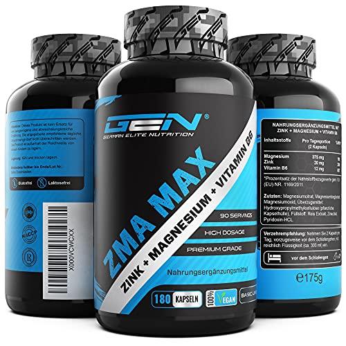 ZMA MAX - 180 Capsule - Dose extra alta - Zinco + Magnesio + Vitamina B6 - Premium: con 3 composti di magnesio - Vegan
