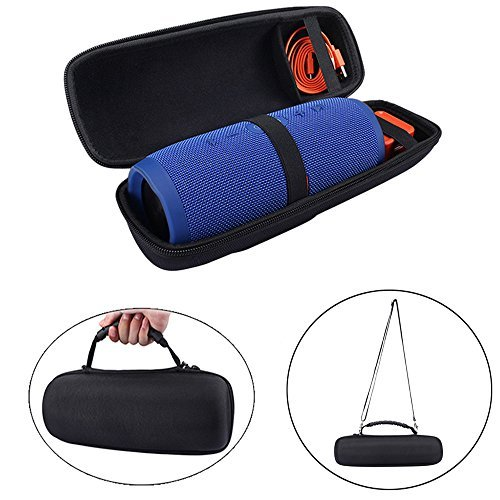 Carry Travel Protective Pouch Bag Cover Case for JBL Charge 3 Charge3 Extra Space for Plug & Cables (with Belt)