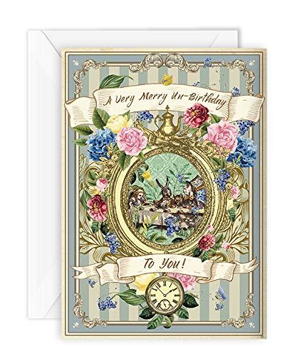 Alice im Wunderland Geburtstagskarte Party Ungeburtstag verrückter Hutmacher Teeparty Thank You