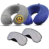 Trajectory 2 in 1 Travel Set Combo: Travel Grey and Blue Neck Pillow