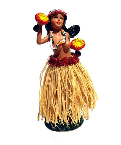 Aloha Wackel Hula Mädchen Figur (16cm) - Oben Ohne (Rock Natur)