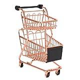 Uniquk Modelo Carrito de Compras de Doble Capa Carro de Supermercado de Hierro Forjado Cesta de Almacenamiento Oro Rosa de Metal Oro Rosa