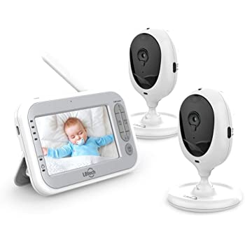 """LBtech Video Baby Monitor with Two Cameras and 4.3"""" LCD,Auto Night Vision,Two-Way Talkback,Temperature Detection,Power Saving/Vox,Zoom in,Support Multi Camera"""