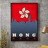 QINGRENJIE Wandkunst Bild Peking Shanghai China Taipeh Taiwan Hong Kong Stadt Skyline Auf Flagge Poster Leinwand Kunstdruck Wohnkultur 42 * 60 cm ohne Rahmen