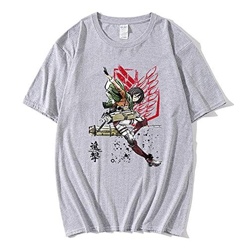 T-Shirt Camiseta de Manga Corta Hecha,Camiseta de algodón de Manga Corta Ataque Diario Gigante de Manga Corta Suelta-Gris_2XLARGE