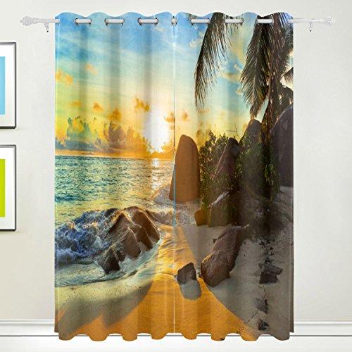 Rideau de fenêtre, Luxe Tropical Palm Mer Beach Sunrise Impression Isolation thermique épais Super Doux Tissu de polyester Décoration de maison avec œillet 2 panneaux pour chambre à coucher
