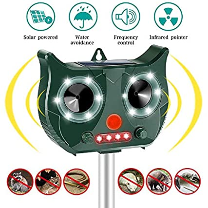 Vivibel-Dissuasore per Gatti, Repellente per Animali, Impermeabile a ultrasuoni a energia solare, 5 modalità Regolabile, USB Repellente per Allontanare Animali, per gatti, parassiti, selvaggina rossa