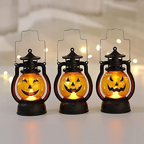 Linterna de calabaza con luz de flash para niños, agarre al aire libre, luces LED de calabaza con decoraciones de Halloween que funcionan con pilas, luz de calabaza, adornos de decoración (3-Pack)