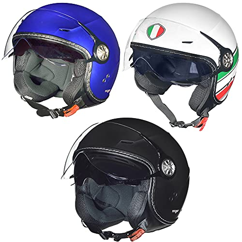 RF-712 Jethelm Motorradhelm Chopper Jet Motorrad Roller Bobber Helm rueger, Farbe:Italy, Größe:L (59-60)