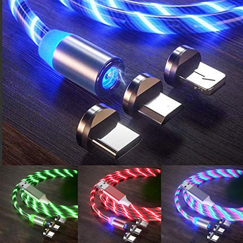 LED Flowing Magnetic Charging Cable (4 Pack, 6ft/6ft/6ft/6ft) Magnetic Phone Charger Moving Party Shining 3 in 1 USB C Cable Compatible with Android Micro USB, Type C Smartphone iProduct Device