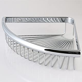 Corner Wire Shower Basket Shower Caddy Shower Soap Basket Holder Bathroom Kitchen Triangle Shelf, Solid Brass-Chrome Finish