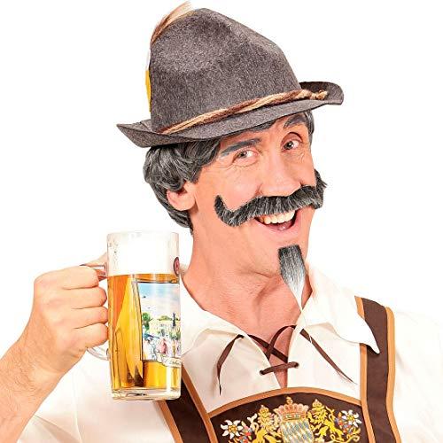 Amakando Witzige Bayer Kurzhaar-Perücke mit Schnauz- und Kinnbart / Grau / Haariges Kostüm-Zubehör Seppl für Männer / Genau richtig zu Fasching & Karneval