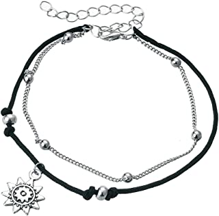 FL BEAUTY Multilevel Organizational Turtles Compass Silver Plated Charms Beach Ankle Bracelets 2pcs One Set Adjustable Anklet Bracelet