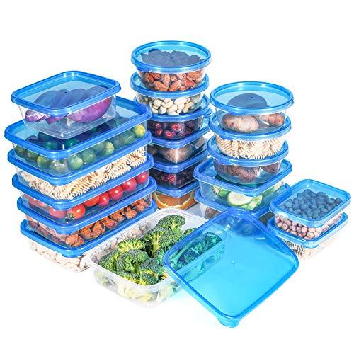 QCen Recipientes de Plástico para Comida, Set de Contenedores de Alimentos, 20 Piezas, Apto para Lavavajillas, Microondas y Congelador, Sin BPA
