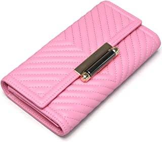 Leather Women's Wallet Leather Long Section Clutch Wallet Embroidery Wallet Waterproof (Color : Pink, Size : S)