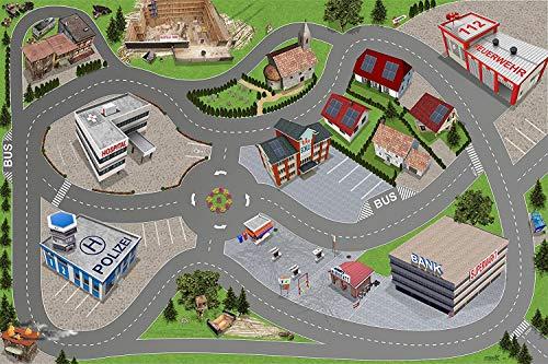 Stadt / Straßen Spielmatte (ähnlich Spielteppich) | SM05 | Hochwertige City Spiel-Matte für das Kinder-Zimmer | ideales Zubehör zu Spiel-Figuren & Autos von Schleich, Playmobil, Papo, Bullyland & Co | 150 x 100 cm | STIKKIPIX