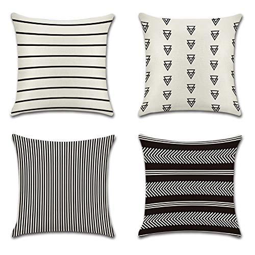 JOTOM Dekorativ Kissenbezug Geometrische Muster 45 x 45cm Sofa Büro Dekor Kissenhülle aus Baumwoll und Leinen, Schwarz und Beige (Streifen)