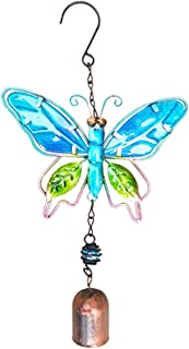 guizhoujiufu Garden Decor Weathervanes 3D Hanging Metal Butterfly Bead Bell Wind Chime Crafts Hand Painted Iron Art Butter...