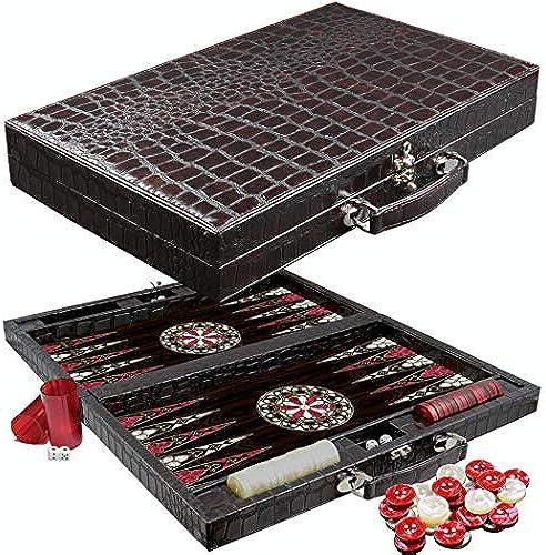 PrimoLiving Deluxe Backgammon Set ANTIQ mit Premium Kroko-Pr ng 58x48 cm