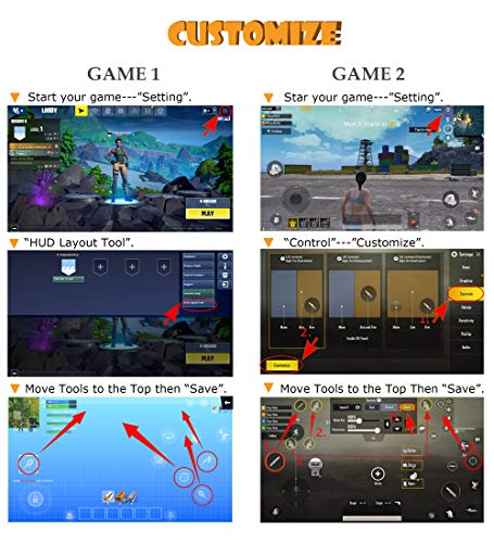 sunny seat Mobile Game Controller Claw Phone Aim Controller Triggers Joystick Gamepad Android iOS Joypad Fire Button Game Grip Handy Trigger (verstellbarer Clip, 6 Finger Kooperation)…