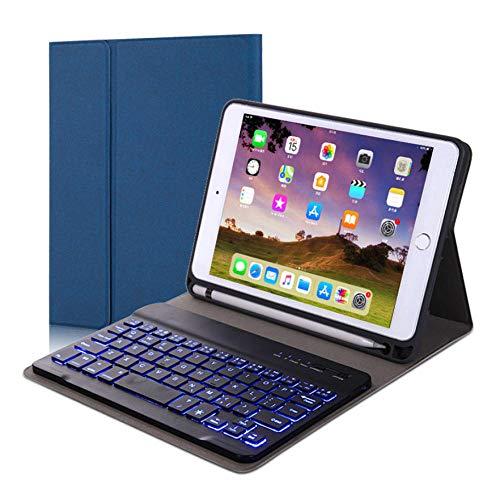Teclado Bluetooth retroiluminado Teclado Bluetooth con Cubierta Protectora Teclado Bluetooth magnético Anti-caída-Sin Teclas de luz de Fondo en Blanco y Negro_iPad10.2 / air10.5 / pro10.5