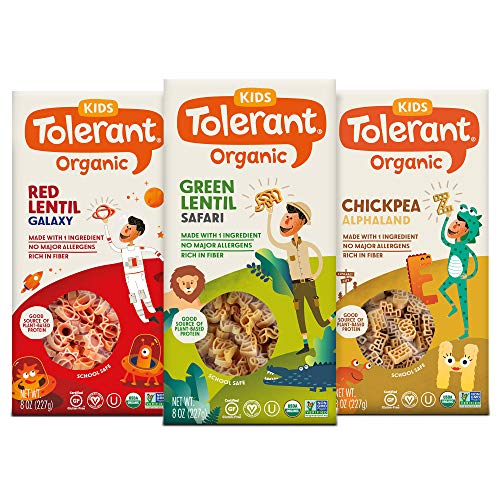 Tolerant Organic Kids Variety Pack Pasta (Green Lentil, Red Lentil, Chickpea), 8 Ounce Box (Case of 3), Single Ingredient Plant-Based Protein Pasta, Vegan, Gluten Free, and School Safe Pasta