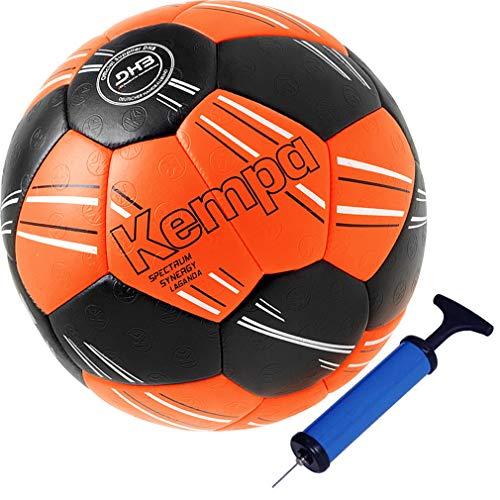 Kempa Handball Top Spiel und Trainingsball DHB IHF Logo rot/orange super griffig (2 mit Ballpumpe)