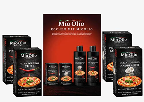 Mio-Olio 04110 Rezeptbuch & 20 Knoblauch-Öl & 20 Scharfes Chili-Öl | Zum Würzen...