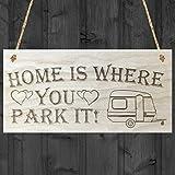 Rojo ocean home is where you park it caravan diseño de corazones de madera para colgar con texto en inglés. 'placa, madera, marrón
