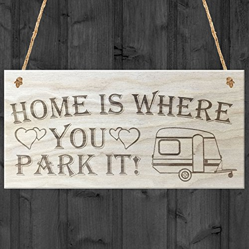 Rot Ocean Home is Where You Park it Caravan Love Herzen aus Holz Hängeschild. Plaque, Holz, braun