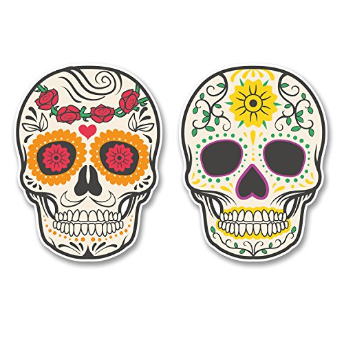 2 x Sugar Skull Vinyl Sticker Laptop Travel Luggage Car #5526