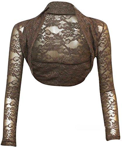 krautwear Bolero de manga larga para mujer, estilo bolero, para boda, fiesta, encaje, negro, blanco, rojo, beige, azul, rosa Braun-01. talla única
