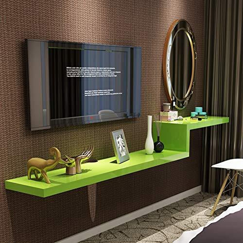 L&T - Consola de TV flotante montada en la pared, estante de madera, caja de cables para reproductor de DVD, estantería decorativa para almacenamiento en pared, color verde