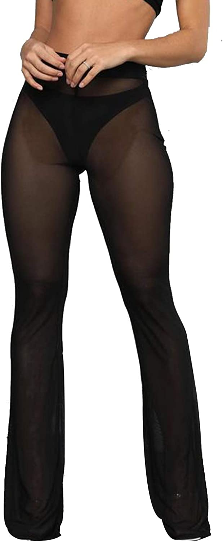 Doqcey Women's Perspective Sheer Mesh Pants Swimsuit Bikini Bottom Cover up Leggings