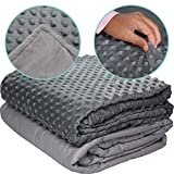 Loved Blanket 5 lbs Cotton Weighted Blanket with Removable Dot Minky Cover for Kids, Heavy Blankets with Glass Beads (Inner Light Gray/Cover Gray & Light Gray, 36'x48' 5 lbs)