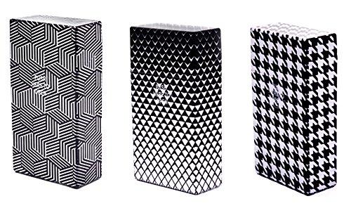3 x Zigarettenetui Zigarettenbox 100 mm Zigaretten King Size Kunststoff schwarz/Weiss - LK Trend & Style