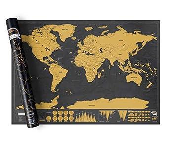 182207 Mapamundi deluxe negro 82 x 58 cm rascar los lugares que ha visitado