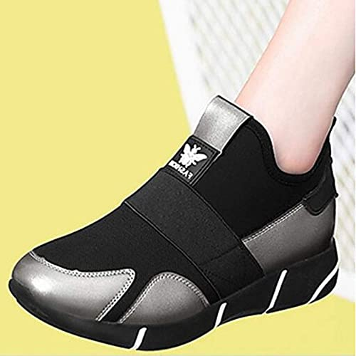 TTchaussures Femme Chaussures Polyuréthane Printemps Confort Basket Plateau Noir Argent,argent,US8 EU39 UK6 CN39