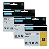 3-Pack Compatible Industrial Label Tapes Replacement for DYMO 18444 Permanent Vinyl Tapes Use with DYMO Rhino 4200 5200 5000 6000 Industrial Label Maker, Black on White, 1/2 Inch x 18 Feet