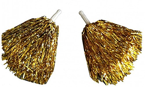 1 Paar Cheerleader Pom Poms Tanzwedel Puschel Tanzpuschel Wedel Pompoms in gold NEU
