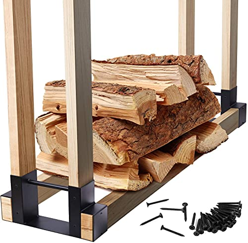 Ohuhu Firewood Rack Outdoor Bracket Kit with Screws, Fireplace Wood Storage Holder Indoor, Heavy Duty Metal Fire Log Stacking Rack Brackets, 2-Pack Adjustable to Any Length DIY Firewood Carrier