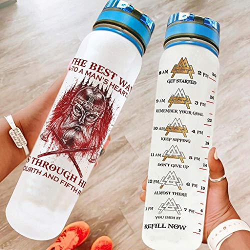 Viking The Best Way to A Man's Heart Inspirational Water Bottle Non-Toxic Tritan Water Bottle with Measurements Dustproof Cap & Carry Strap Plastic Water Bottle for Camping White 1000ml